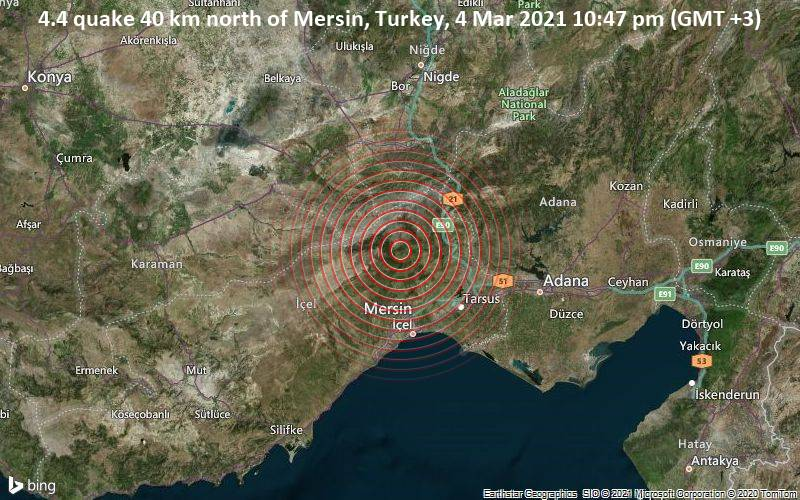 4.4 quake 40 km north of Mersin, Turkey, 4 Mar 2021 10:47 pm (GMT +3)
