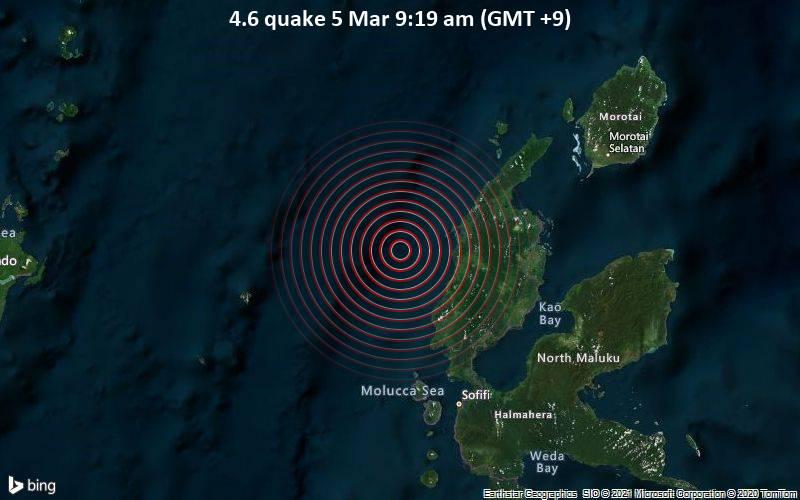 Leichtes Erdbeben der Stärke 4.6 - Maluku Sea, 89 km nördlich von Ternate, Maluku Utara, Indonesien, am Freitag,  5. Mär 2021 um 09:19 Lokalzeit