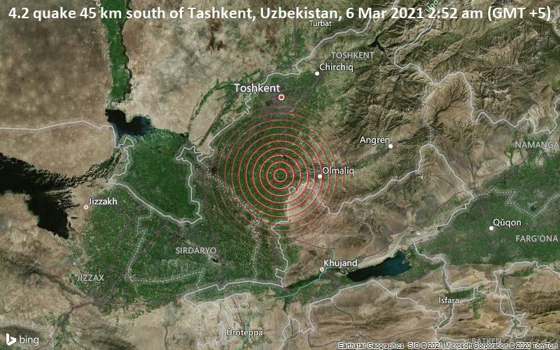4.2 quake 45 km south of Tashkent, Uzbekistan, 6 Mar 2021 2:52 am (GMT +5)