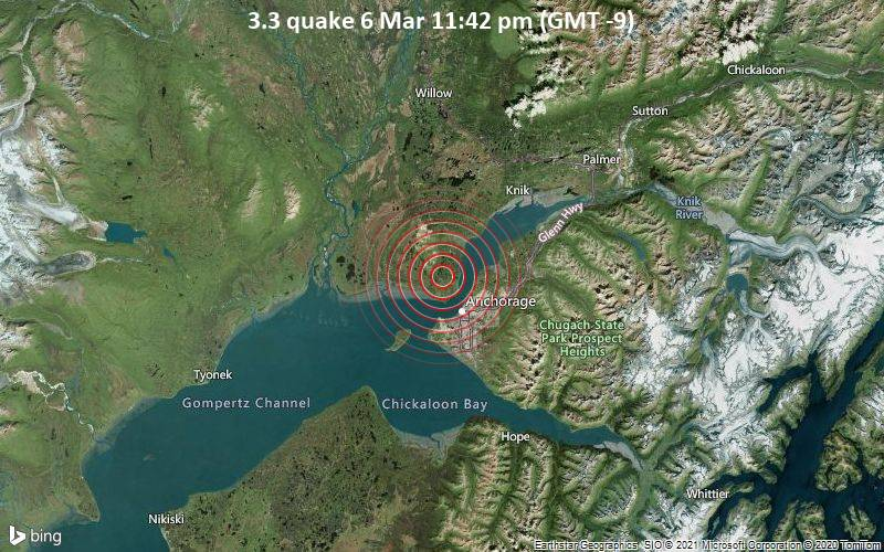 3.3 quake 6 Mar 11:42 pm (GMT -9)