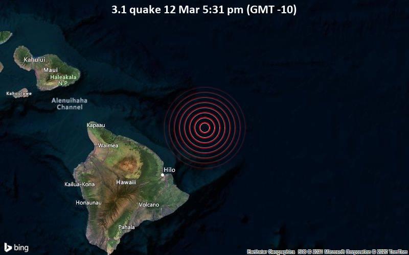 3.1 quake 12 Mar 5:31 pm (GMT -10)