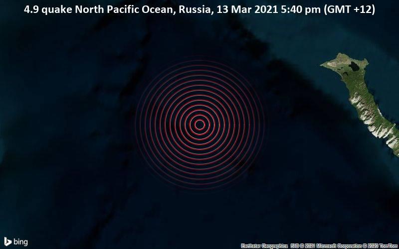 4.9 quake North Pacific Ocean, Russia, 13 Mar 2021 5:40 pm (GMT +12)
