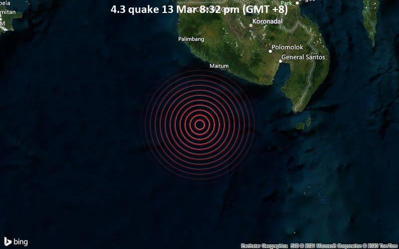 4.3 quake 13 Mar 8:32 pm (GMT +8)
