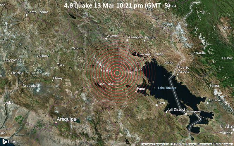 4.6 quake 13 Mar 10:21 pm (GMT -5)