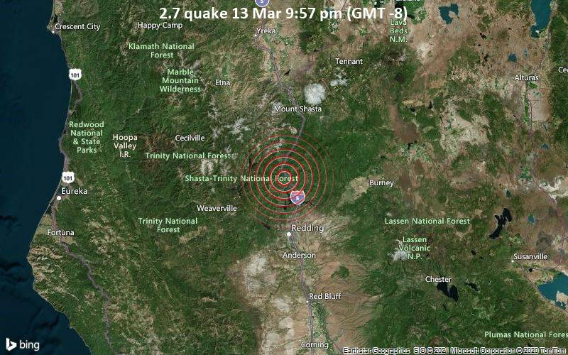 2.7 quake 13 Mar 9:57 pm (GMT -8)