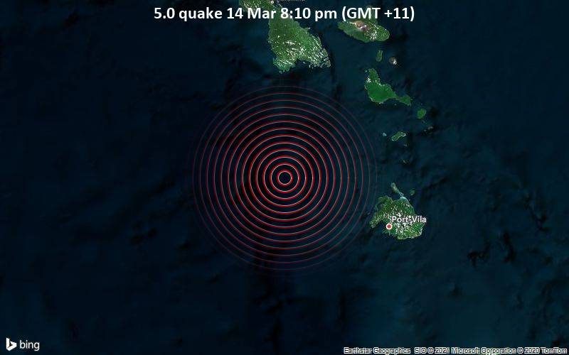 5.0 quake 14 Mar 8:10 pm (GMT +11)