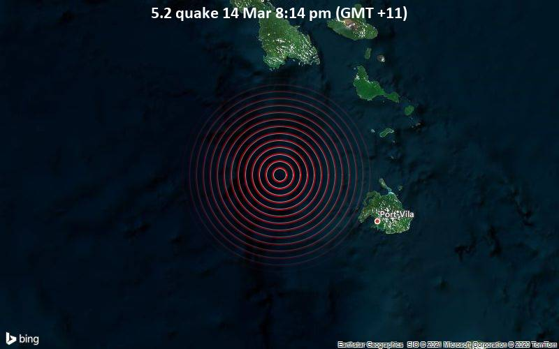 5.2 quake 14 Mar 8:14 pm (GMT +11)