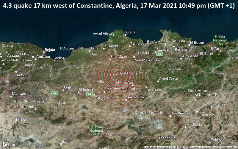 Moderate 4.3 quake hits near Constantine, Algeria / VolcanoDiscovery