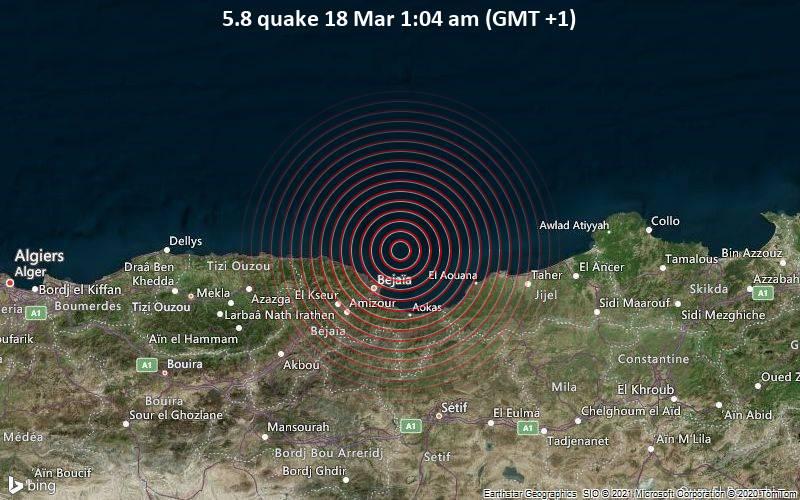 5.8 Tremblement de terre 18 mars 01h04 (GMT +1)