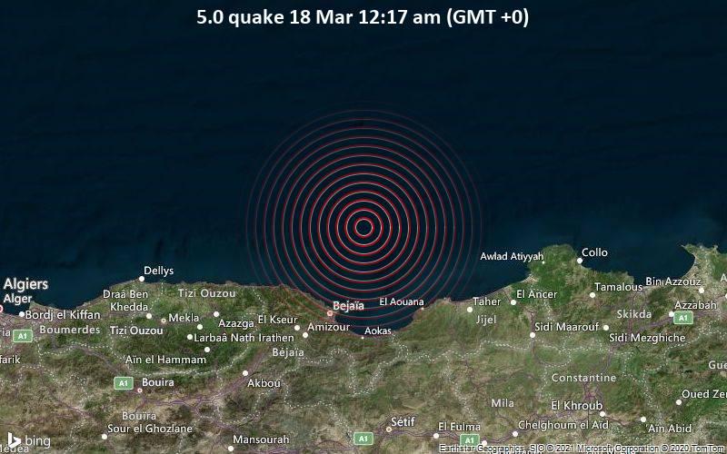 5.0 Tremblement de terre 18 mars 00h17 (GMT +0)