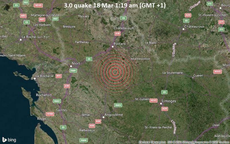 3.0 Tremblement de terre 18 mars 01h19 (GMT +1)