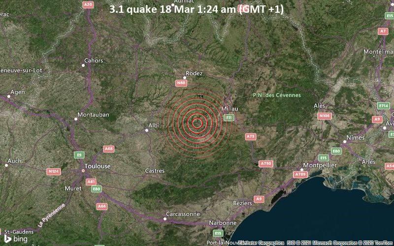 3.1 Tremblement de terre 18 mars 01:24 AM (GMT +1)