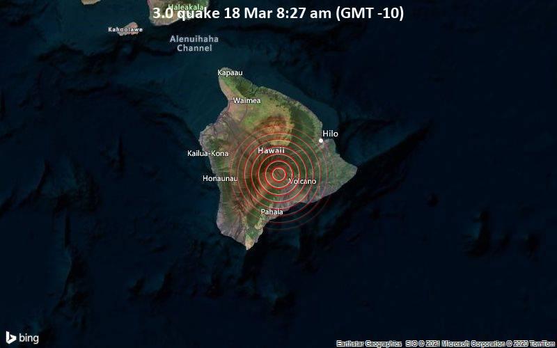 3.0 Terremoto 18 de marzo a las 8:27 a.m. (GMT -10)