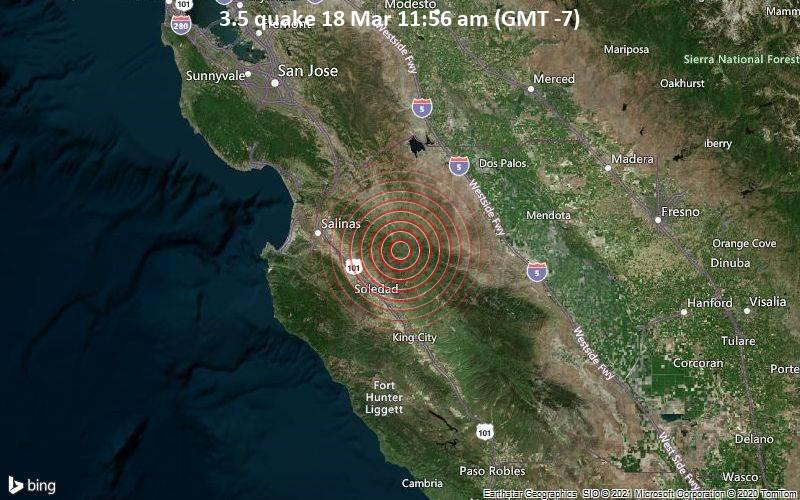 3.5 Terremoto 18 de marzo a las 11:56 a.m. (GMT -7)