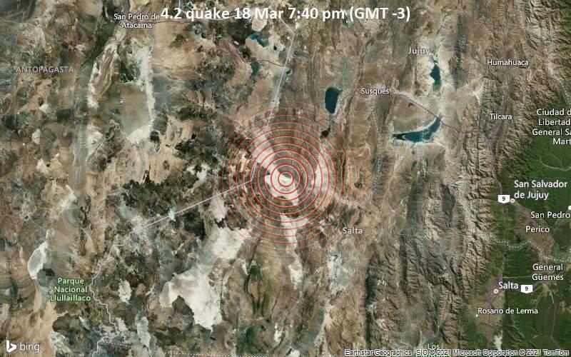 4.2 Terremoto 18 de marzo a las 7:40 pm (GMT -3)