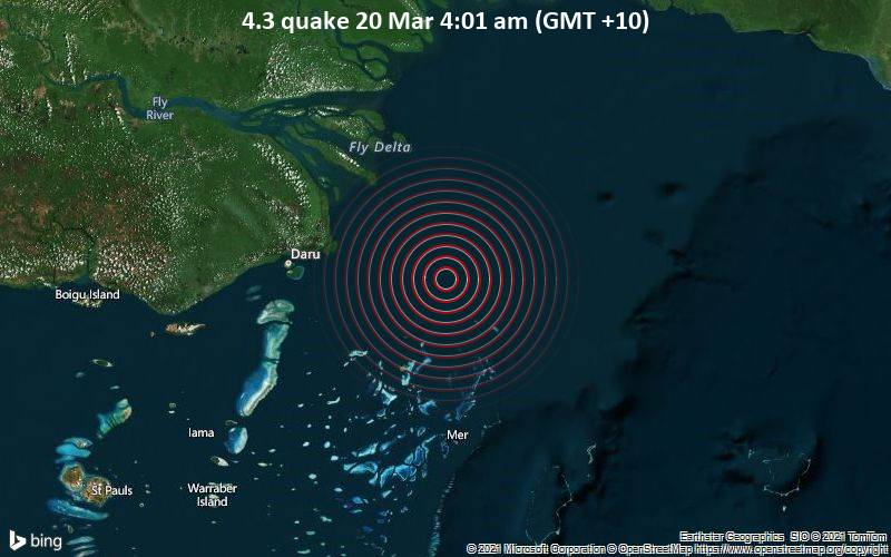 4.3 Gempa 20 Maret 4:01 AM (GMT +10)