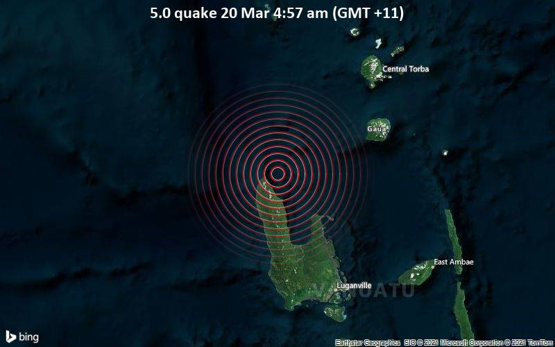 5.0 Gempa 20 Maret 4:57 AM (GMT +11)