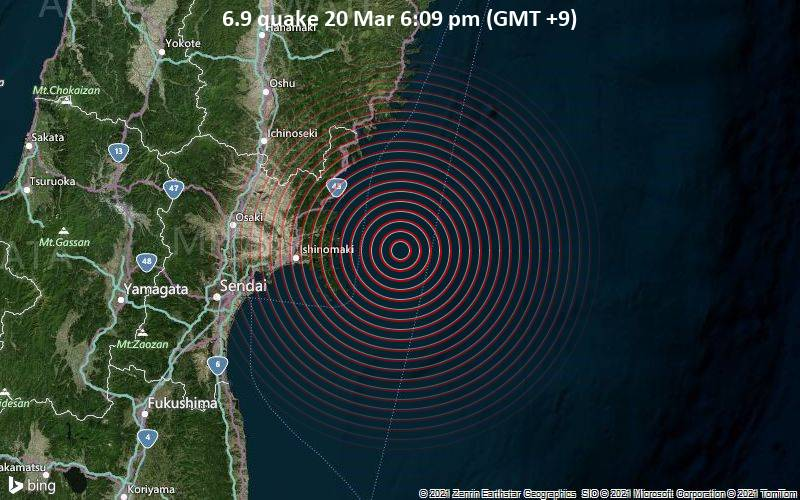 6.9 quake 20 Mar 6:09 pm (GMT +9)