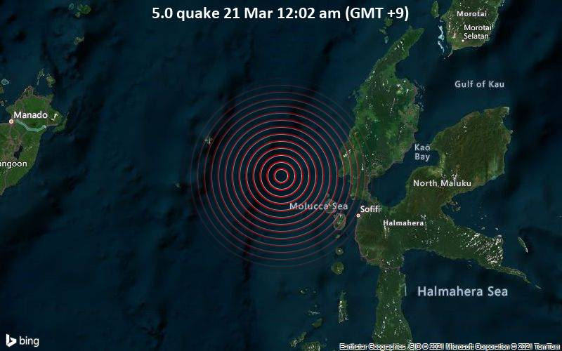 5.0 quake 21 Mar 12:02 am (GMT +9)