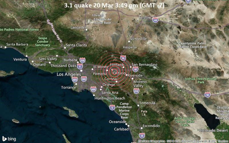 3.1 Terremoto 20 de marzo 3:49 pm (GMT -7)