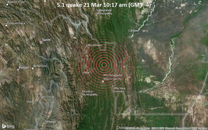5.1 Erdbeben 21. März 10:17 Uhr (GMT-4)