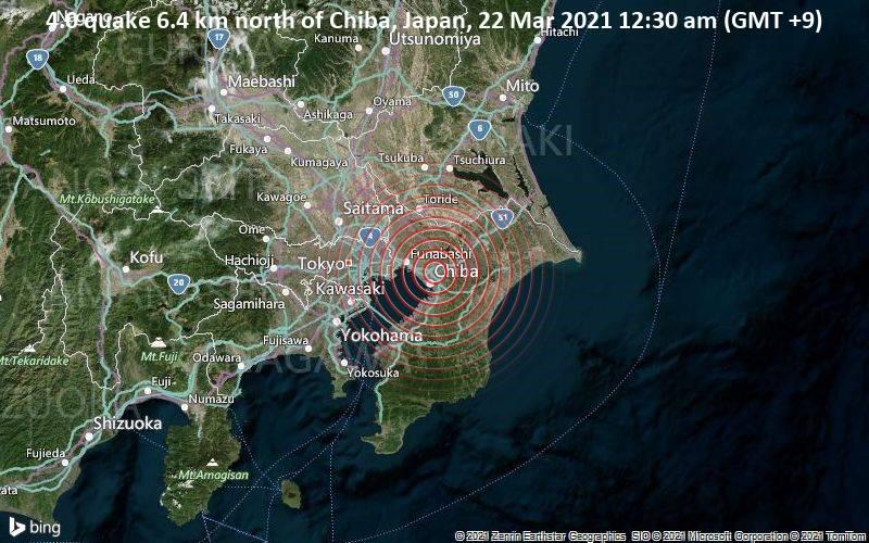4,0 Erdbeben 6,4 km nördlich von Chiba, Japan, 22. März 2021, 12:30 Uhr (GMT +9)