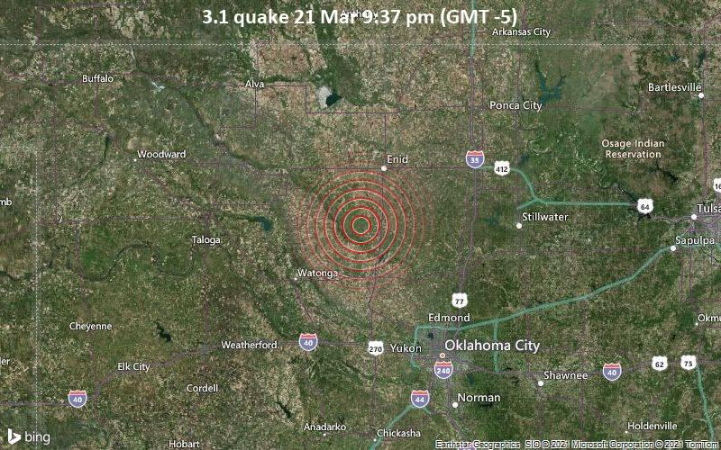 3.1 quake 21 Mar 9:37 pm (GMT -5)