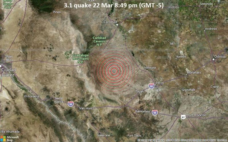 3.1 quake 22 Mar 8:49 pm (GMT -5)