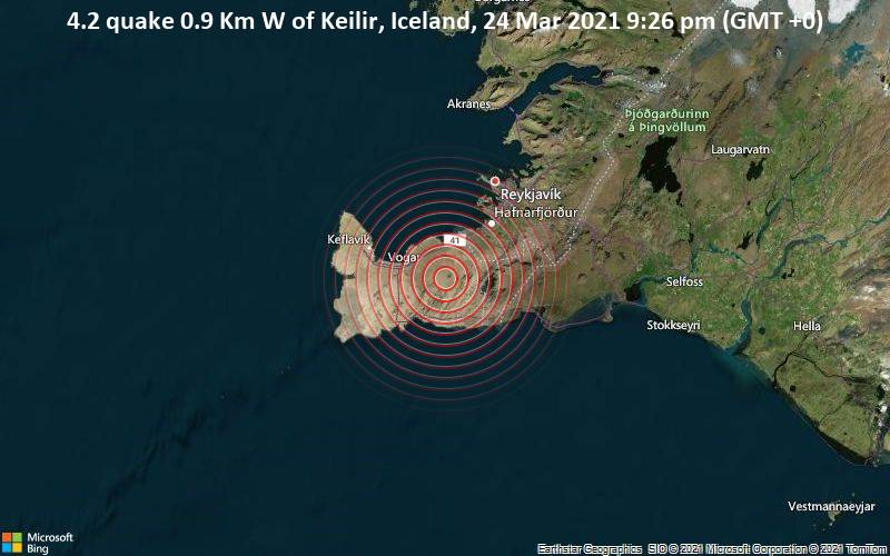 4.2 quake 0.9 Km W of Keilir, Iceland, 24 Mar 2021 9:26 pm (GMT +0)