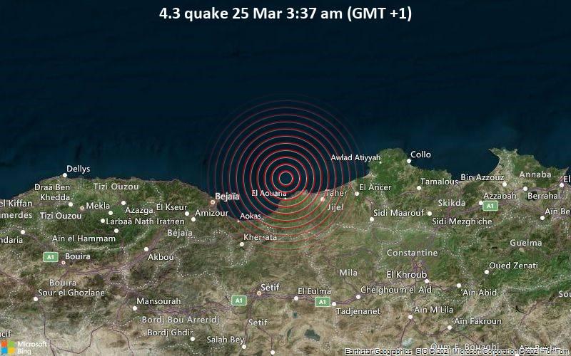 4.3 quake 25 Mar 3:37 am (GMT +1)