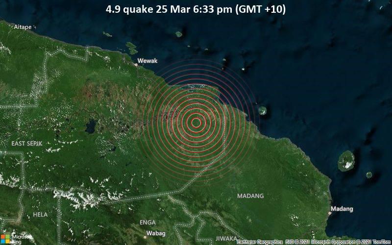 4.9 quake 25 Mar 6:33 pm (GMT +10)