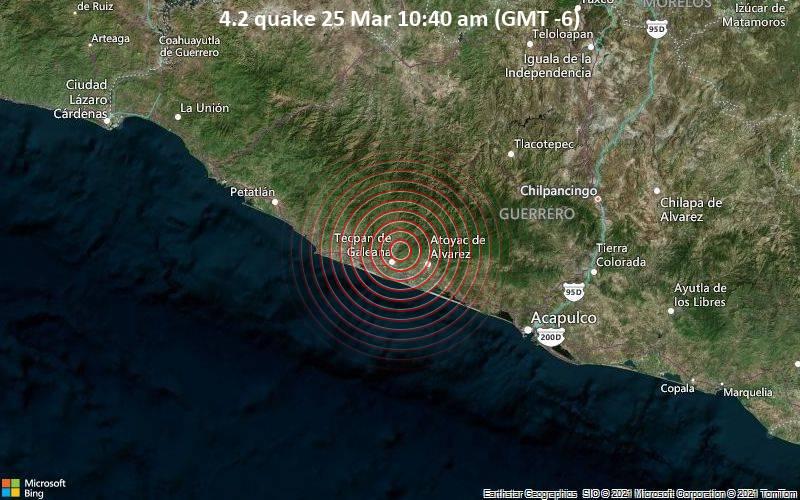 4.2 Gempa bumi 25 Maret 10:40 (GMT -6)