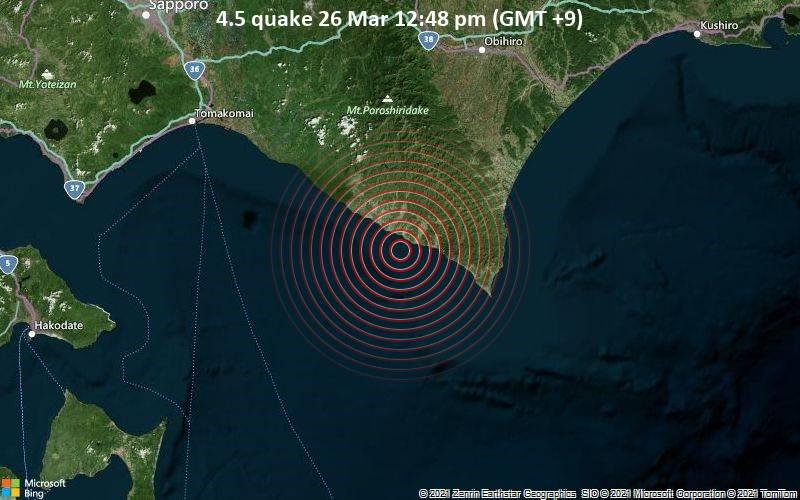 4.5 quake 26 Mar 12:48 pm (GMT +9)