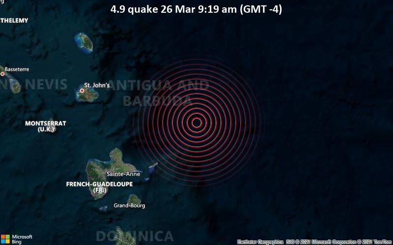 4.9 Gempa 26 Maret 9:19 AM (GMT -4)