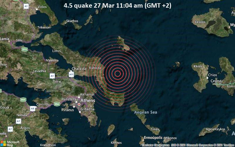 4.5 Erdbeben 27. März 11:04 Uhr (GMT +2)