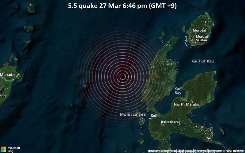 5,5 gempa bumi 27 Maret 18:46 (GMT +9)