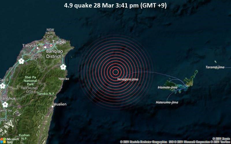 4.9 quake 28 Mar 3:41 pm (GMT +9)