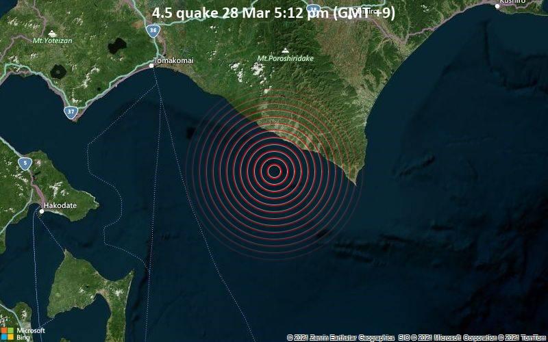 4.5 quake 28 Mar 5:12 pm (GMT +9)