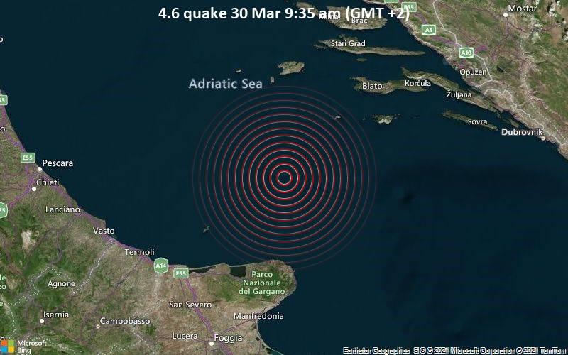 Moderates Erdbeben der Stärke 4.6 - Adriatisches Meer, 89 km nördlich von Manfredonia, Italien, am Dienstag, 30. Mär 2021 um 09:35 Lokalzeit
