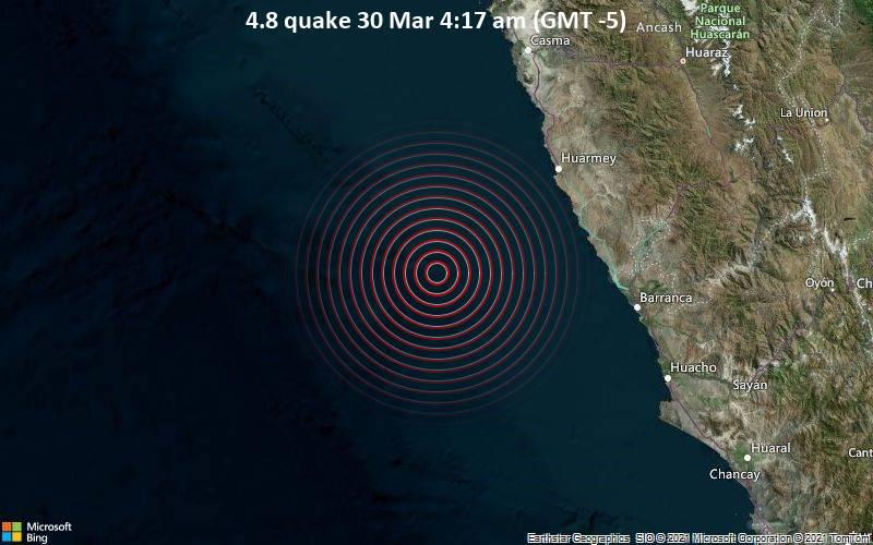 Moderates Erdbeben der Stärke 4.8 - South Pacific Ocean, 88 km südwestlich von Huarmey, Ancash, Peru, am Dienstag, 30. Mär 2021 um 04:17 Lokalzeit