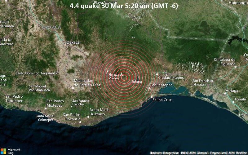 Leichtes Erdbeben der Stärke 4.4 - Guaje Colorado, 65 km nordwestlich von Salina Cruz, Oaxaca, Mexiko, am Dienstag, 30. Mär 2021 um 05:20 Lokalzeit