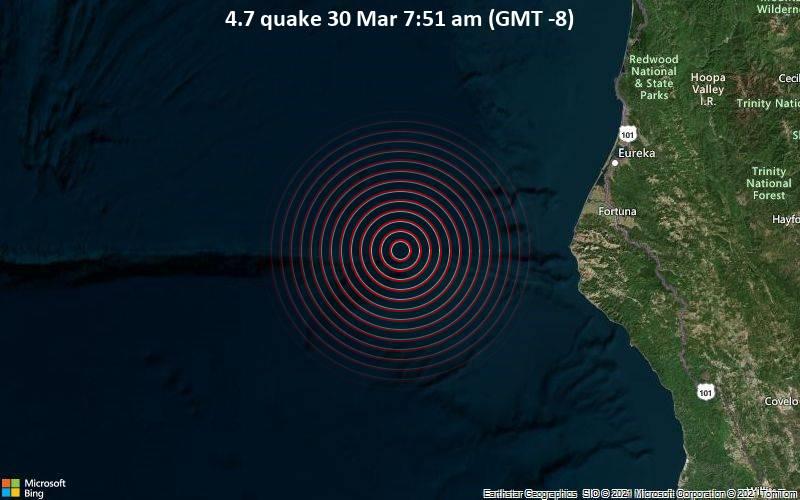 Moderates Erdbeben der Stärke 4.7 - Nordpazifik, 108 km südwestlich von Eureka, Humboldt County, Kalifornien, USA, am Dienstag, 30. Mär 2021 um 07:51 Lokalzeit