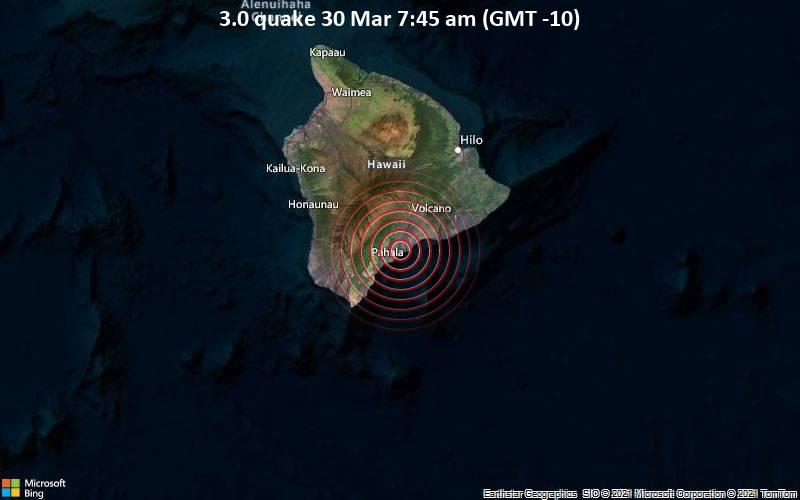 3.0 Terremoto 30 de marzo a las 7:45 a.m. (GMT -10)