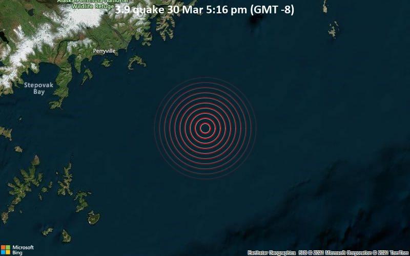 3.9 Terremoto del 30 de marzo a las 5:16 pm (GMT -8)