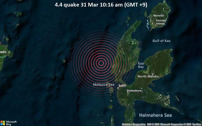 4.4 Terremoto 31 de marzo 10:16 a.m. (GMT +9)