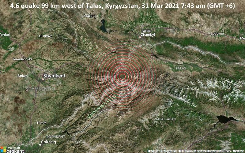 4.6 quake 99 km west of Talas, Kyrgyzstan, 31 Mar 2021 7:43 am (GMT +6)