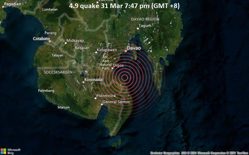 4.9 quake 31 Mar 7:47 pm (GMT +8)
