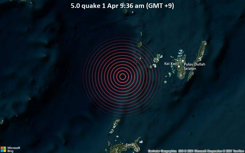5.0 quake 1 Apr 9:36 am (GMT +9)