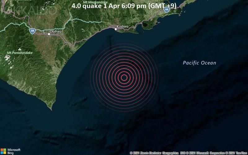 4.0 quake 1 Apr 6:09 pm (GMT +9)