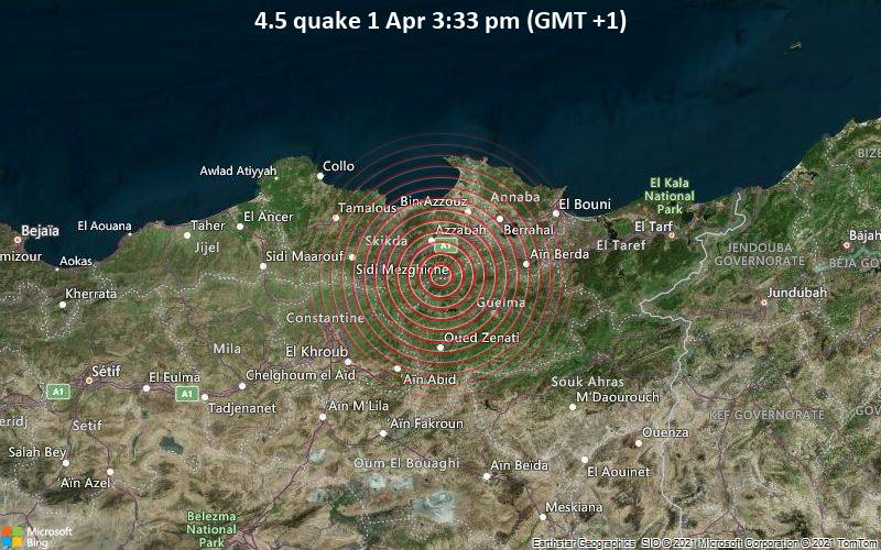 4.5 quake 1 Apr 3:33 pm (GMT +1)
